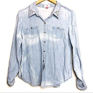Lei Blue Studded Denim Chambray Tie Dye Shirt L